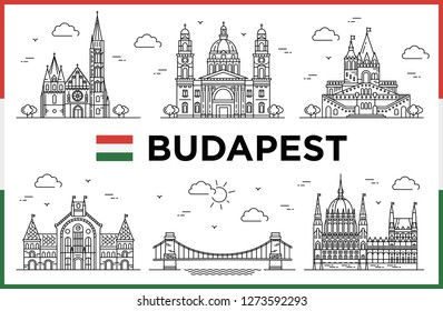 Budapest, Hungary. Parliament, Fishman Bastion, Modern buildings and city sights. Vector illustration