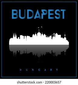 Budapest, Hungary skyline silhouette vector design on parliament blue and black background.