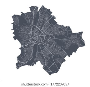 Budapest map. Detailed vector map of Budapest city administrative area. Dark poster with streets on white background.