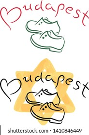 Budapest shoes sketch with watercolor star of David swatch grunge vector illustration