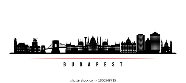 Budapest skyline horizontal banner. Black and white silhouette of Budapest City, Hungary. Vector template for your design.