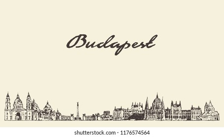 Budapest skyline, Hungary, hand drawn vector illustration, sketch