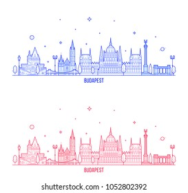 Budapest skyline, Hungary. This illustration represents the city with its most notable buildings. Vector is fully editable, every object is holistic and movable