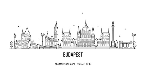 Budapest skyline, Hungary. This illustration represents the city with its most notable buildings. Vector is fully editable, every object is isolated and movable