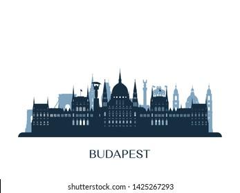 Budapest skyline, monochrome silhouette. Vector illustration.