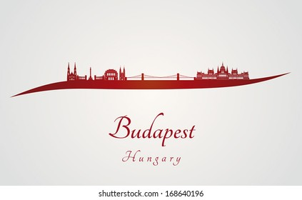 Budapest skyline in red and gray background in editable vector file