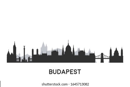 Budapest skyline silhouette. Cityscape with famous buildings.