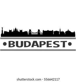 Budapest Skyline Silhouette. Cityscape Vector Famous Buildings Clip Art Design.
