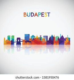 Budapest skyline silhouette in colorful geometric style. Symbol for your design. Vector illustration.