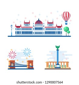 Budapest touristic landmarks vector flat illustration. Travel to Hungary design elements. Parliament, Heroes Square and Chain Bridge icons.