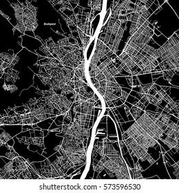 Budapest Vector Map, Artprint. Black Landmass, White Water and Roads.