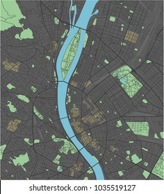Budapest vector map with dark colors.