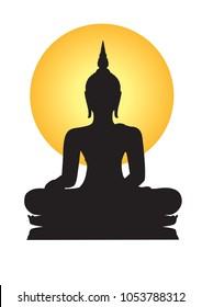 Buddha black silhouette On a white background.