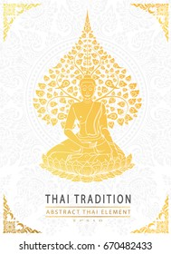 Buddha and Bodhi tree gold color of thai tradition,greeting card