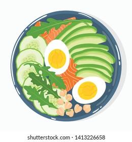 Buddha-Schüssel mit Avocado, Lachs, Gurken, gekochte Eier, Kichererbsen, Rucola, Draufsicht, einzeln auf Hintergrund. Gesunde saubere ausgewogene natürliche vegetarische Detox-Mehl. Vektorillustration.