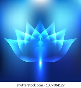 The Buddha is the center of Buddhism. Lotus Blue Light