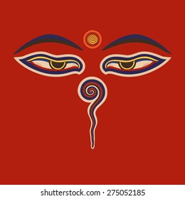Buddha eyes  of the Nepal .Vector eps10