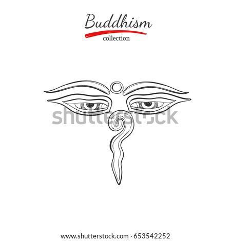 Buddha Eyes Symbol Buddhism Spirituality Yoga Print Stock Vector