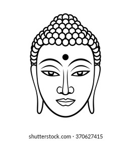 Buddha face. Black line illustration on white background. Enlightenment and balance. Vector illustration for authentic design.