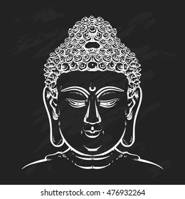 Buddha face isolated on a black background. Esoteric vintage vector illustration. buddha head. Indian, Buddhism, Thai god.