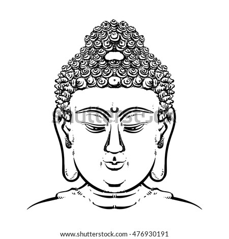 4fa115b88a197 Buddha face isolated on a white background. Esoteric vintage vector  illustration. buddha head. Indian, Buddhism, Thai god. - Vector