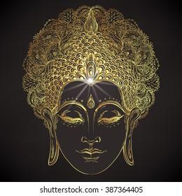 Buddha face over ornate mandala round pattern. Esoteric vintage vector illustration. Indian, Buddhism, spiritual art. Hippie tattoo, spirituality, Thai god, yoga zen. Gold over black design.