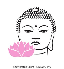 Buddha face and pink lotus flower, vector