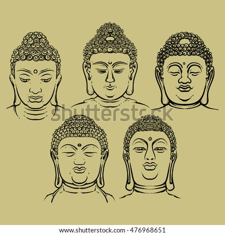 284919672a8b4 Buddha face set isolated on a gold background. Esoteric vintage vector  illustration. buddha head. Indian, Buddhism, Thai god. - Vector