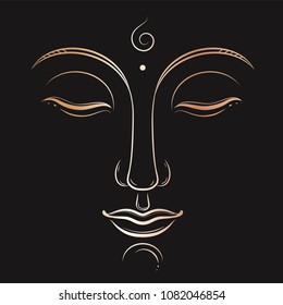 Buddha face vector art. Buddhism, yoga, sacred spiritual, zen ink drawing