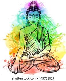 buddha gautama multicolor rainbow aura vector illustration stock