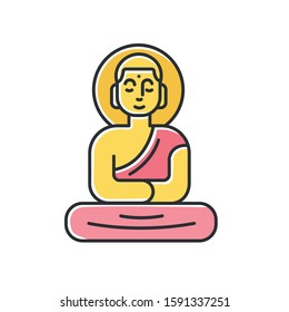 Buddha golden statue color icon. Sitting meditation in lotus pose. Symbol of peace and harmony. Discovering Indonesian islands culture. Oriental religious sculpture. Isolated vector illustration