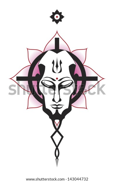 Buddha Head Against Celtic Cross Lotus Stock Vector Royalty Free