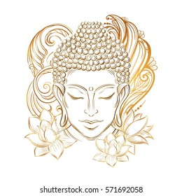 Buddha head - elegant vector illustration. The symbol of Hinduism, Buddhism, spirituality and enlightenment. Tattoo, illustration, printing on fabric. Buddha Purnima Background