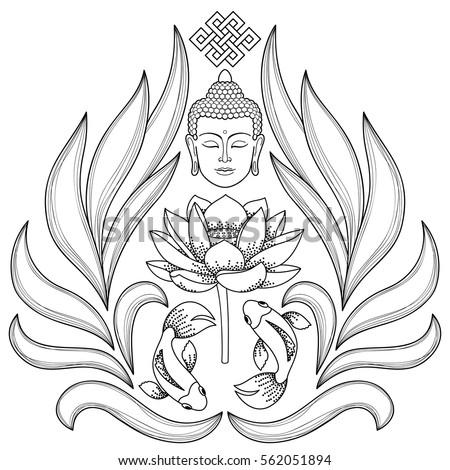 Buddha Head Endless Knot Lotus Fishes Vector de stock (libre de ...
