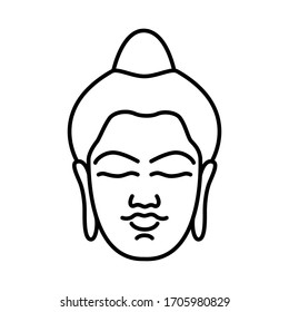 Buddha head isolated on white background. Buddha logo for yoga and meditation studio.