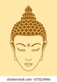 Buddha head on a beige background