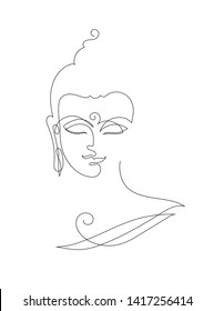 Buddha head - One Line Drawings. The symbol of Hinduism, Buddhism, spirituality and enlightenment. Tattoo, illustration, printing on fabric