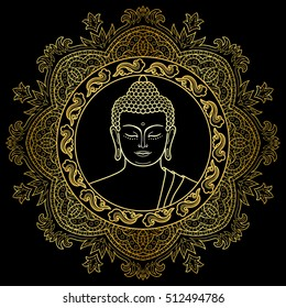 Buddha head with round mandala decoration. Gold sign for textile print, mascots and amulets.