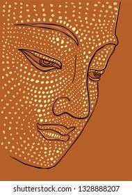 Buddha head silhouette, drawing vector, ohm sign