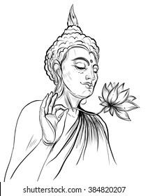Buddha holding Lotus flower. Vector illustration isolated on white. Sketchy style,hand drawn. Vintage drawing. Indian, Buddhism, Spiritual motifs. Tattoo, yoga, spirituality.