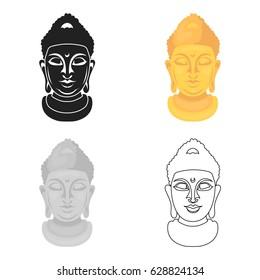Buddha icon in cartoon style isolated on white background. Religion symbol stock vector illustration.