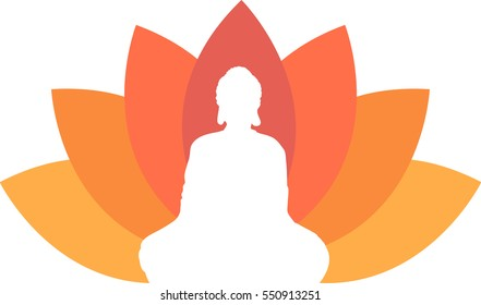 Buddha illustrated with the lotus background