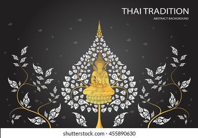 buddha and leaf of thai tradition