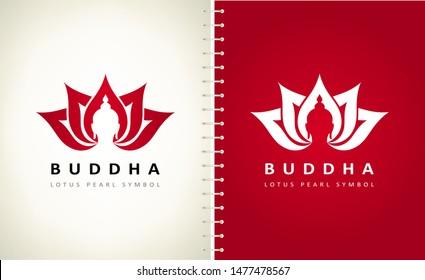 Buddha and lotus flower logo vector design