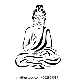 Buddha in the lotus position. Black outlines isolated on white. Vintage Vector. decorative elements.