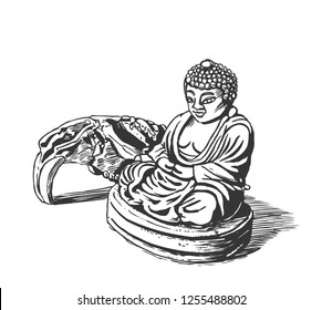 Buddha in Lotus position, statuette. Graphic sketch