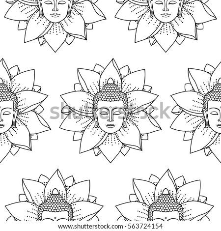 Buddha Lotus Seamless Pattern On White Vector de stock (libre de ...