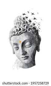 Buddha. Low poly vector illustration. Buddha's face artwork for Painting, Banner, Greeting card, T-shirt, Bag, Print, Poster.