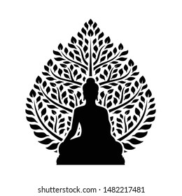 Buddha Meditate and bodhi tree sign symbol isolate on white background vector design