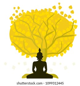 Buddha meditating amidst a serene under big trees.Budhism vector illustration symbol.